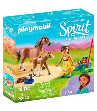 Playmobil-Spirit-Pru-avec-des-chevaux-a-cheval