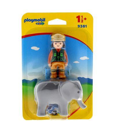 Playmobil-123-Cuidadora-con-Elefante