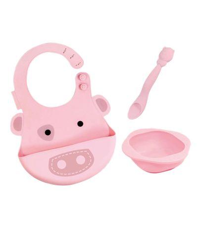 Definir-la-vaisselle-en-silicone-Bib---Bowl---Spoon-Pig