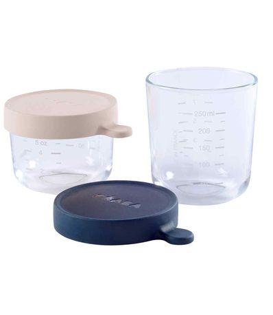 Set-de-2-pots-en-verre-150-et-250-ml-Bleu