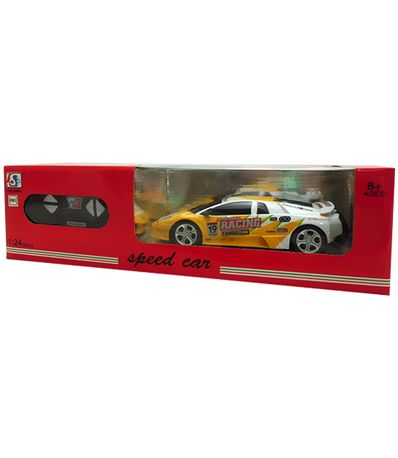 Voiture-RC-Speed-Car-Blanc-Jaune-Echelle-1-24